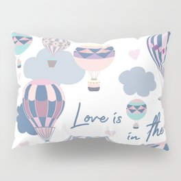 Cute illustration with pink and blue air balloons Pillow Sham