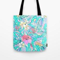 Pretty Pastel Hawaiian Hibiscus Print Tote Bag