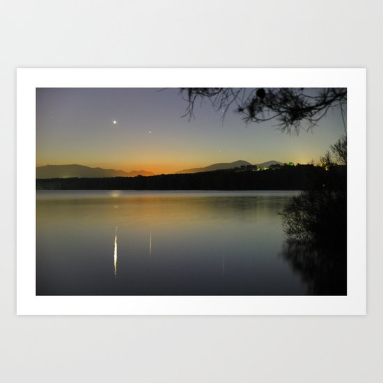 Planetary conjunction, reflections at the lake Mercury and Venus  Art Print