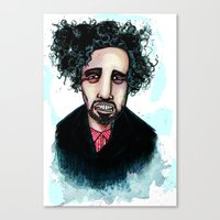 tim burton Canvas Prints featuring Tim Burton by Grant Hunter