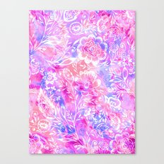Feminine Folk Floral Canvas Print