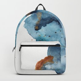 Modern Abstract Watercolor Painting in Aqua and Gold Backpack
