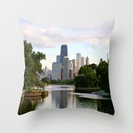 Chicago by River Throw Pillow