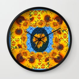 DECORATIVE  BABY BLUE ART & YELLOW SUNFLOWERS Wall Clock