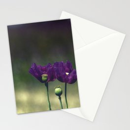 Purple poppies Stationery Cards