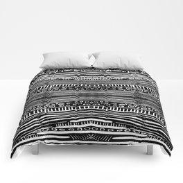 Linocut Tribal Pattern Comforters