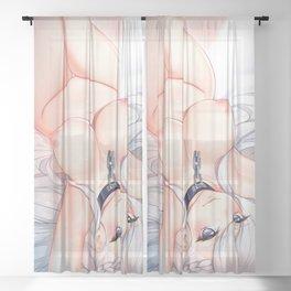 Azure Lane - Belfast naked on the Bed Sheer Curtain