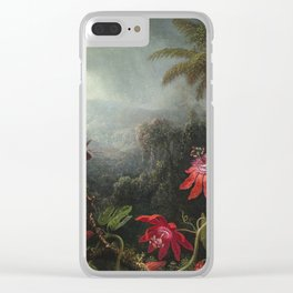Martin Johnson Heade - Passion Flowers with Hummingbirds Clear iPhone Case