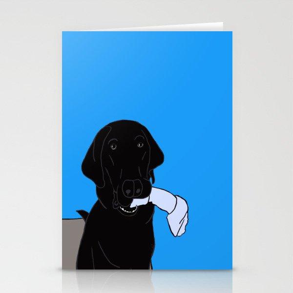 Black Lab With A Bone Stationery Cards