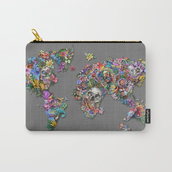 floral skull world map 1 Carry-All Pouch
