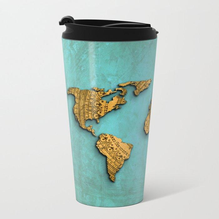 Vintage World Map on Jade Dragon Teal Metal Travel Mug