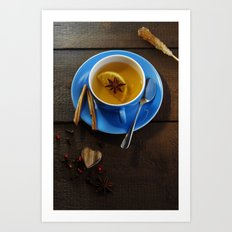 Winter tea with fresh spices  Art Print
