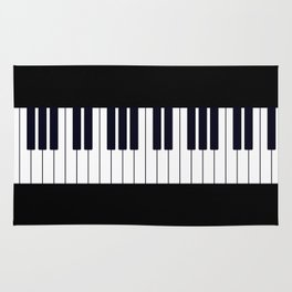 Piano Keys - Black and white simple piano keys pattern minimalistic music themed artwork Rug