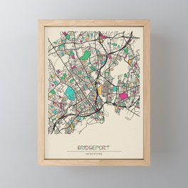 Colorful City Maps: Bridgeport, Connecticut Framed Mini Art Print