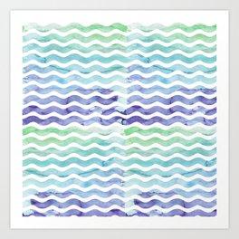 Modern teal blue watercolor hand painted waves Art Print