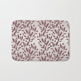 Stylish rose gold burgundy silver glitter gradient floral Bath Mat