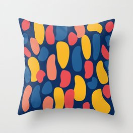 Colorful Blue Abstract Shape Pattern Throw Pillow