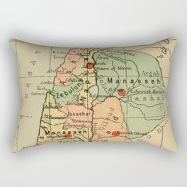 Map of Palestine Divided by the 12 tribes from 1889 Rectangular Pillow