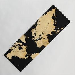 Sleek black and gold world map Yoga Mat