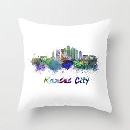 Kansas City V2  skyline in watercolor Throw Pillow