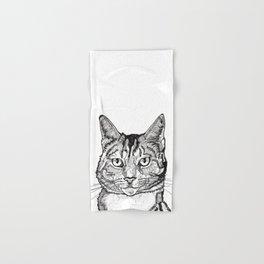 Cat line drawing portrait black and white illustration Hand & Bath Towel