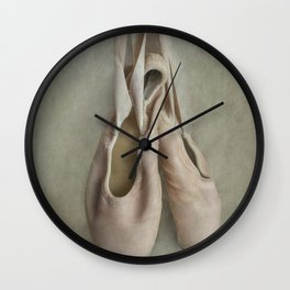 Creamy pink ballet shoes Wall Clock