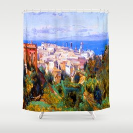 Jean Baptiste Camille Corot View of Genoa Shower Curtain