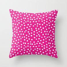 White Dots Polkadots on pink background - Mix & Match Throw Pillow