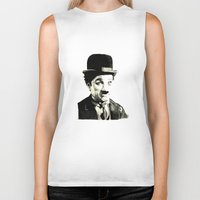 charlie chaplin Biker Tanks featuring Charlie Chaplin by Lauren Randalls ART