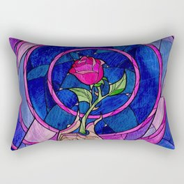 Enchanted Rose Stained Glass Rectangular Pillow