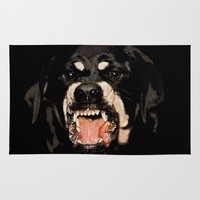 rottweiler Area & Throw Rugs featuring Givenchy Antigona Rottweiler Art Print by Le' + WK$amahoodT Boutique by Paynasa®