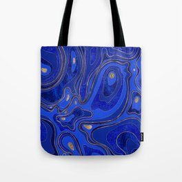 Marble Map - blue and gold Tote Bag