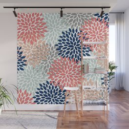 Floral Bloom Print, Living Coral, Pale Aqua Blue, Gray, Navy Wall Mural