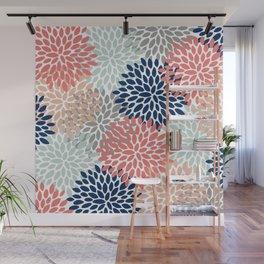 Floral Bloom Print, Living Coral, Pale Aqua Blue, Gray, Navy Wall Mural