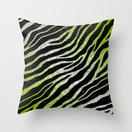Ripped SpaceTime Stripes - Lime/White Throw Pillow