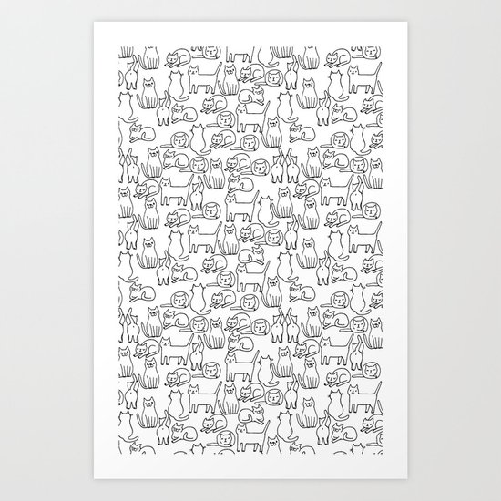 Funny sketchy white kitty cats Art Print