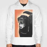 labrador Hoodies featuring Labrador Happy 2 by Jennifer Warmuth Art And Design