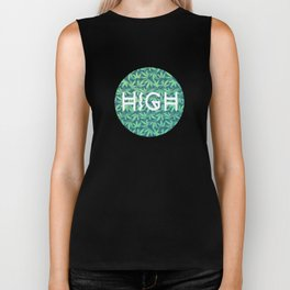 HIGH TYPO! Cannabis / Hemp / 420 / Marijuana  - Pattern Biker Tank
