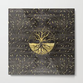Golden Tree of life on wooden texture Metal Print