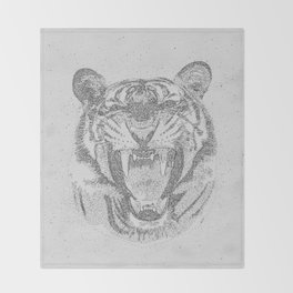 Black and White Tiger Dot Art Throw Blanket