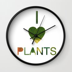 I LOVE PLANTS. Wall Clock