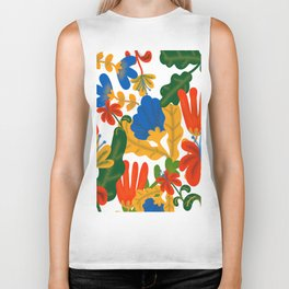 Tropical Flower Pattern II Biker Tank