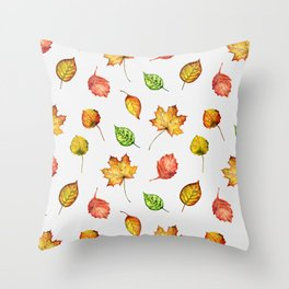 Hand painted green gold brown red Autumn leaves Throw Pillow