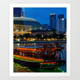 Singapore boat ride during night near Esplanade Art Print