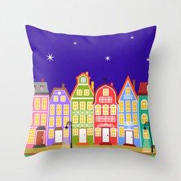 Cute Night Town Cartoon Houses Throw Pillow