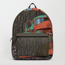 Rusted old truck, wolf skull, raven. Backpack