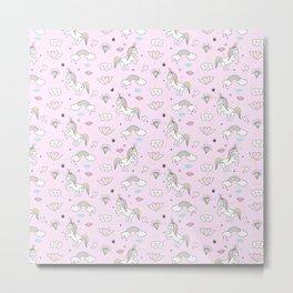 Lt Pink Unicorn2 Metal Print