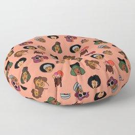 Black Hair Magic (Coral) Floor Pillow