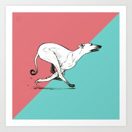 Run Greyhound! Art Print