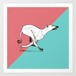 Run Greyhound! Art Print